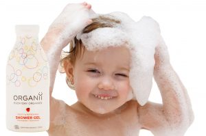 strawberry shower gel with child ( no text)